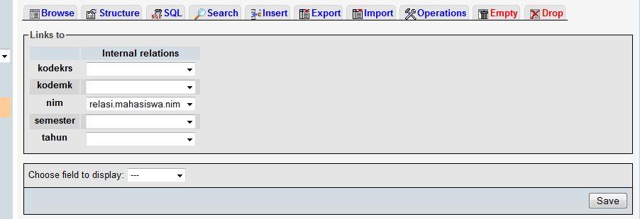 membuat relasi mysql pada localhost phpmyadmin